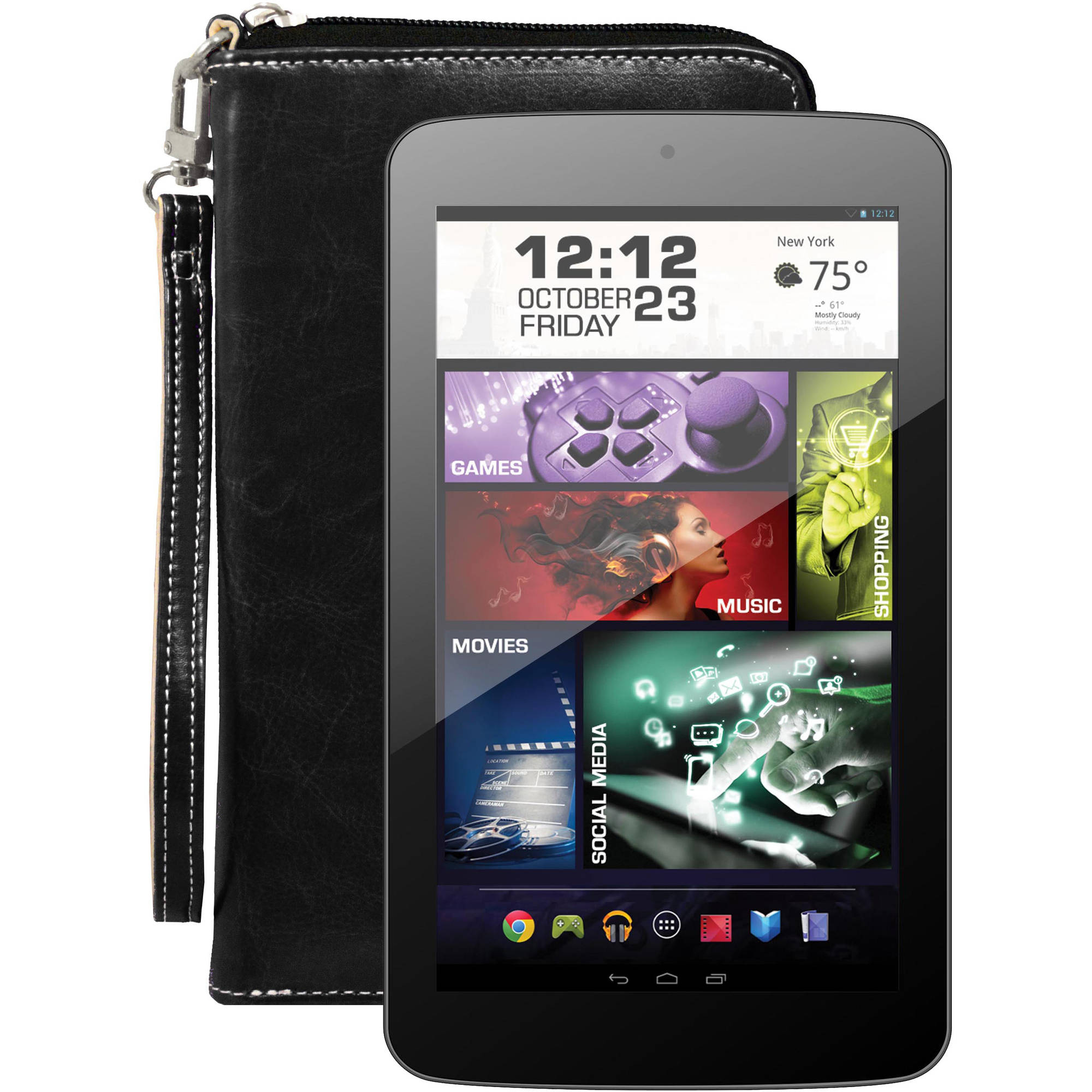 "Visual Land 7"" Dual Core Slim Tablet 16GB includes Wallet Case"