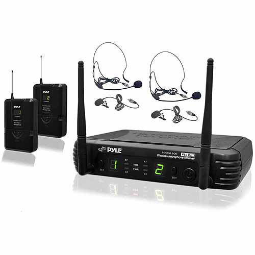 Pyle PDWM3400 Premier Series Professional UHF Microphone System with 2 Body-Pack Transmitters, 2 Headsets and 2 Lavalier Microphones with Selectable Frequencies
