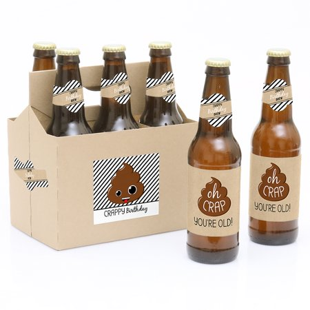 Oh Crap, You're Old! - Poop Birthday Party Decorations for Women and Men - 6 Beer Bottle Label Stickers and 1 Carrier](Beer Themed Party Decorations)