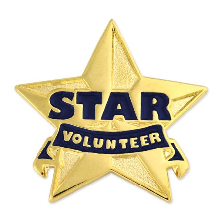 Gold and Blue Star Volunteer Enamel Lapel Pin ()