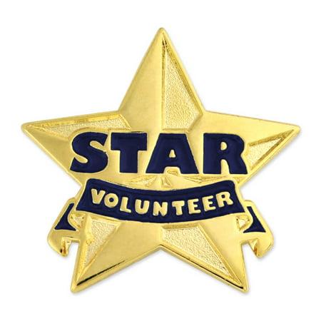 - Gold and Blue Star Volunteer Enamel Lapel Pin