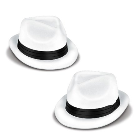 Club Pack of 25 White and Black Velour Chairman Hat Costume Accessories - Velour Hat