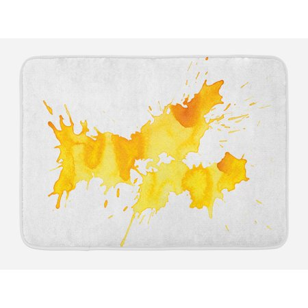 Yellow and White Bath Mat, Abstract Splash Watercolor on White Backdrop Dirty Stain Grunge Look, Non-Slip Plush Mat Bathroom Kitchen Laundry Room Decor, 29.5 X 17.5 Inches, Yellow Marigold, Ambesonne