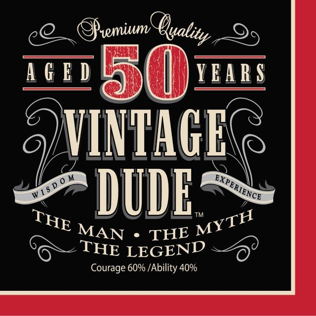 Party Creations Vintage Dude 50th Birthday Lunch Napkins, 16 Ct