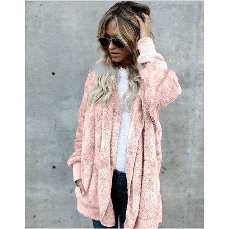 Winter Warm Faux Fur Cardigan Women's Jacket coat Female Lamb Wool Coat Pink Overcoat Long Sleeve Hooded Outwear Cardigan ()