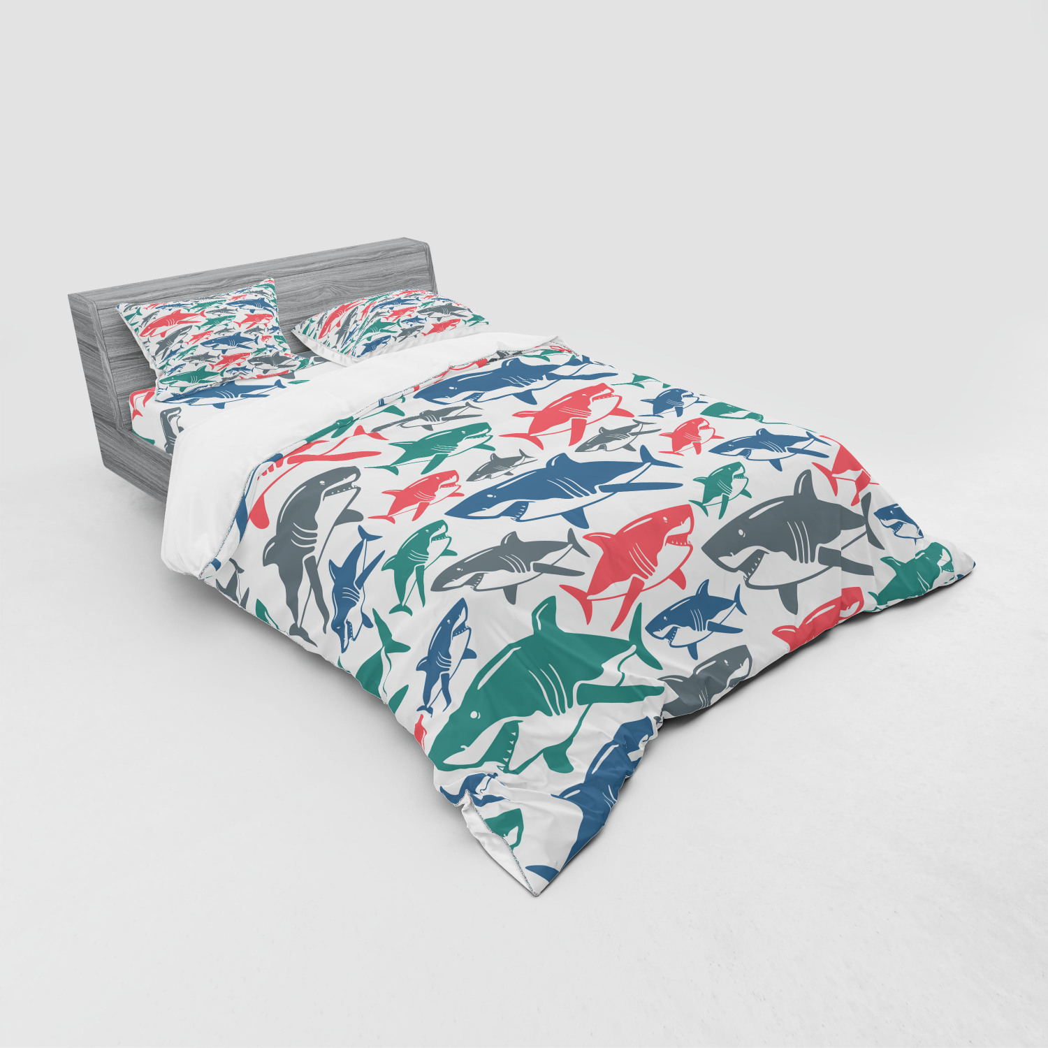 Shark Duvet Cover Set Mix Of Colorful Bull Shark Family Pattern Masters Survival Predators Dangerous Nature Bedding Set With Shams And Fitted Sheet 3 Sizes By Ambesonne Walmart Com Walmart Com