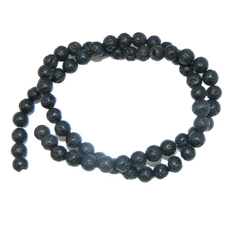 6mm Volcanic Lava Rock Natural Round, Loose Beads, 40cm 15 inch Stone