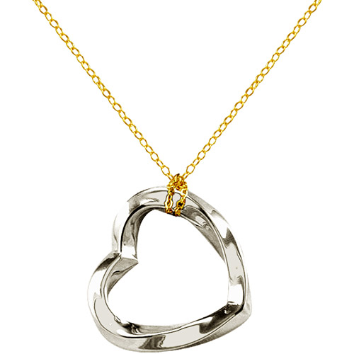 """Adina Reyter 18"""" Sterling Silver Heart Pendant on Sterling Silver and 10kt Gold Chain"""