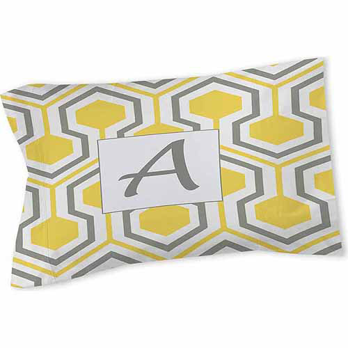 Thumbprintz Honeycomb Monogram Sham, Yellow