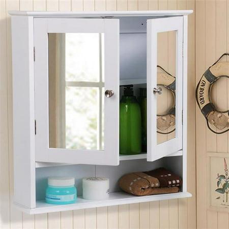 Yaheetech Medicine Cabinets Wooden Bathroom Wall Cabinet with Double Mirror Doors Adjustable Shelf (Mirror Door Medicine Cabinet)