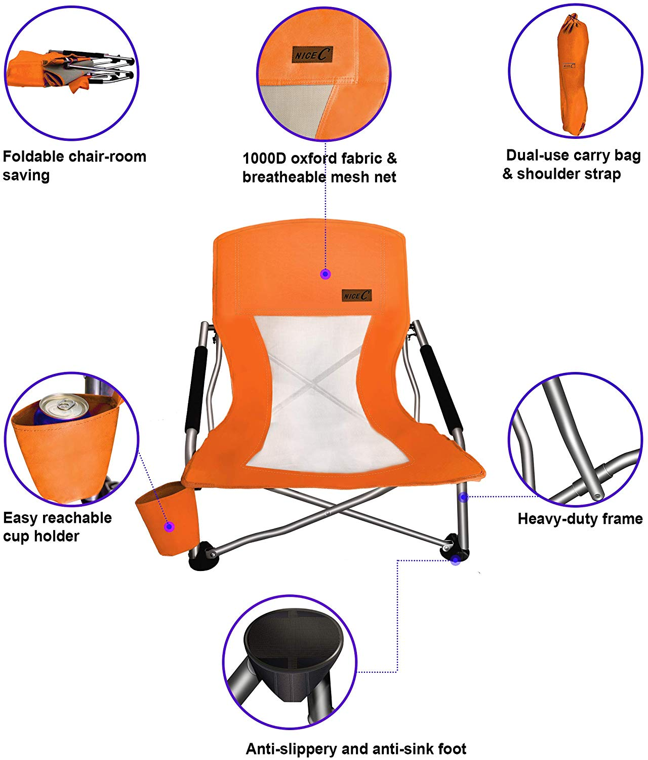 Nice C Low Beach Camping Folding Chair Ultralight Backpacking Chair With Cup Holder Carry Bag Compact Heavy Duty Outdoor Indoor 2 Pack Of Blue Walmart Com Walmart Com