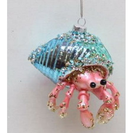 December Diamonds Blue Shell Hermit Crab Glass Christmas Ornament Decoration