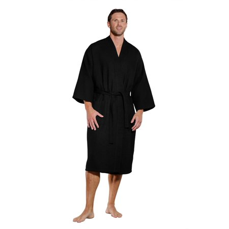 Mens Black Robe (Turquaz Linen Lightweight Long Waffle Kimono Spa Robe for Men (Small/Medium,)