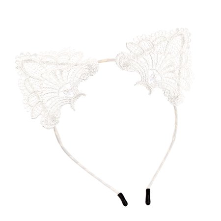 Lovely Lace Cat Ears Headband Cute Hair Hoop Headpiece Hairdress for Party Costume (White) - Long Hair Costume Ideas