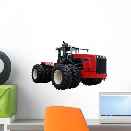 Red Tractor Wall Decal by Wallmonkeys Peel and Stick Graphic (18 in W x 12 in H) (Toy Tractor Decals)