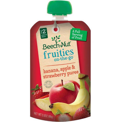 Beech-Nut Fruities on-the-Go Banana, Apple & Strawberry Puree Baby Food, 3.5 oz, (Pack of 12)