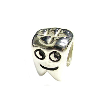 861874951 Queenberry - Queenberry Sterling Silver Smily Tooth Happy Face European Style  Bead Charm Fits Pandora - Walmart.com