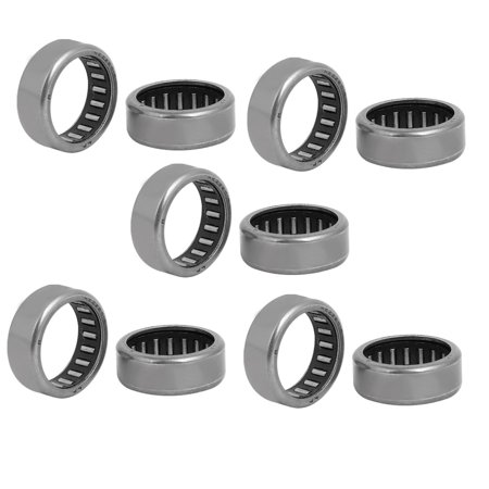 28mmx22mmx10mm Drawn Cup Open End Needle Roller Bearing Silver Tone 10pcs Silver Tone Open End