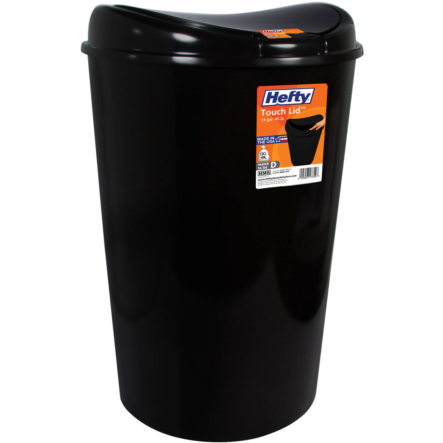 Hefty 13.8-Gallon Semi-Round Touch Lid Trash Can, Black