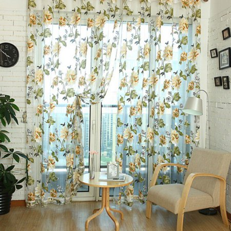 Floral Embroidered Sheer Curtains with Bead Hem, Voile Window Treatment Rod Pocket Curtain Panels, Semi Sheer Curtains for Bedroom, Yard, Patio, Villa, Parlor, 39.4 x 98.4 inches (Yellow,1 Panel Only) ()