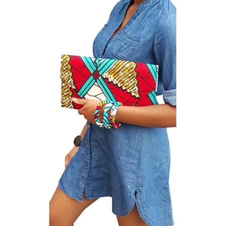 Red, Turquoise, white African Print Clutch Purse ()