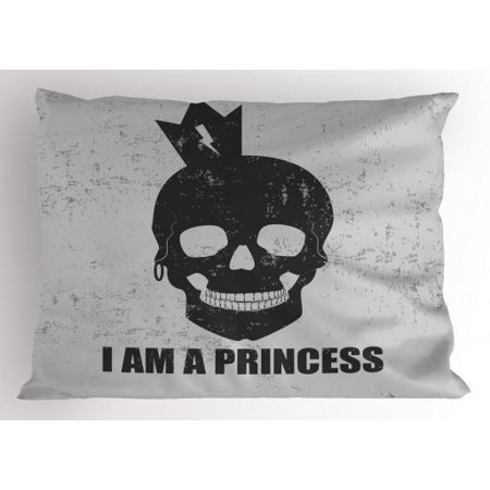 I am a Princess Pillow Sham Skull with a Crown Skeleton Halloween Theme Grunge Look, Decorative Standard Queen Size Printed Pillowcase, 30 X 20 Inches, Charcoal Grey and Pale Grey, by Ambesonne (Grunge Halloween Look)
