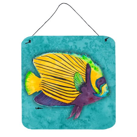 Fish  Tropical on Teal Aluminium Metal Wall or Door Hanging