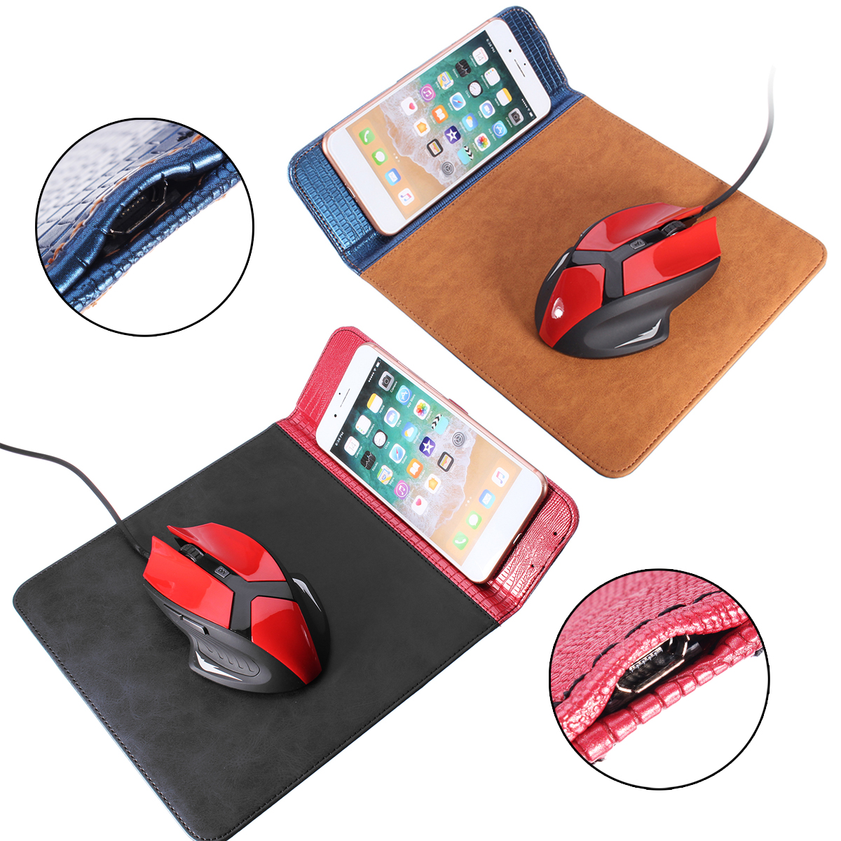 Qi Wireless Charger Charging Pad Mouse Pad Mat Multifunctional Non-Slip Qi Wireless Charger Pad for  iPhoneX/8/8Plus SamsungS8/Note8 Wireless Charging Phone
