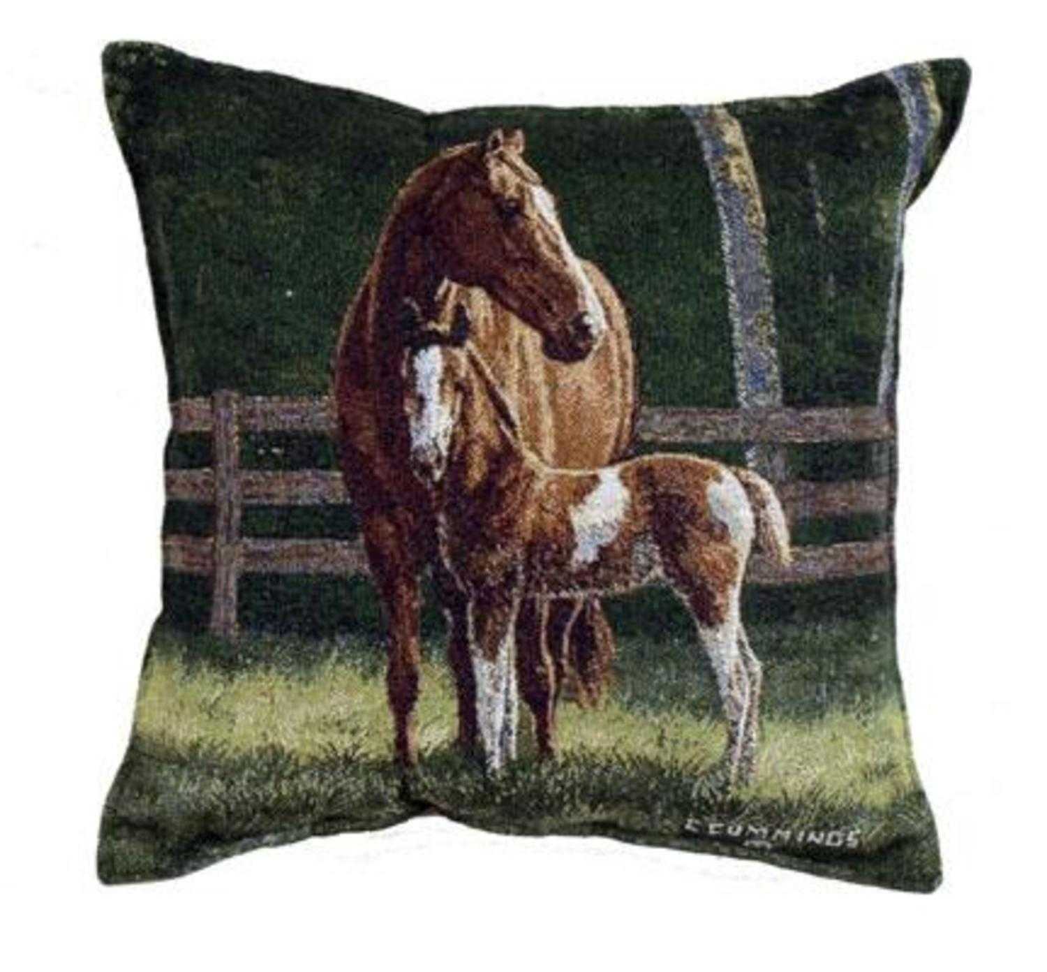 Pack of 2 Horse Mom and Baby Tapestry Square Throw Pillows 17""