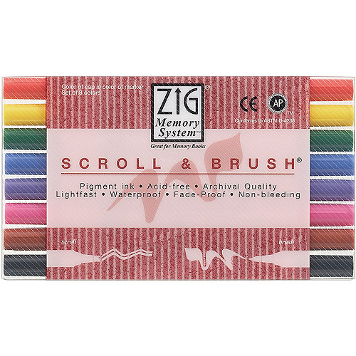 Zig Memory System Scroll & Brush Dual-Tip Markers, 8/pkg