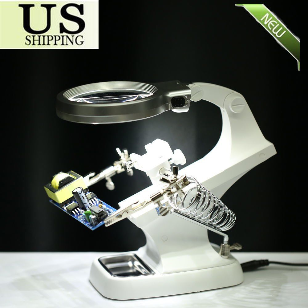 Helping Hand Clip LED Magnifying Soldering Iron Jewelry Stand Lens Magnifier TR