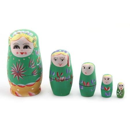 Handmade Beautiful   Russian Nesting Dolls Matryoshka Gift Set Green 5 in 1 - image 3 de 3