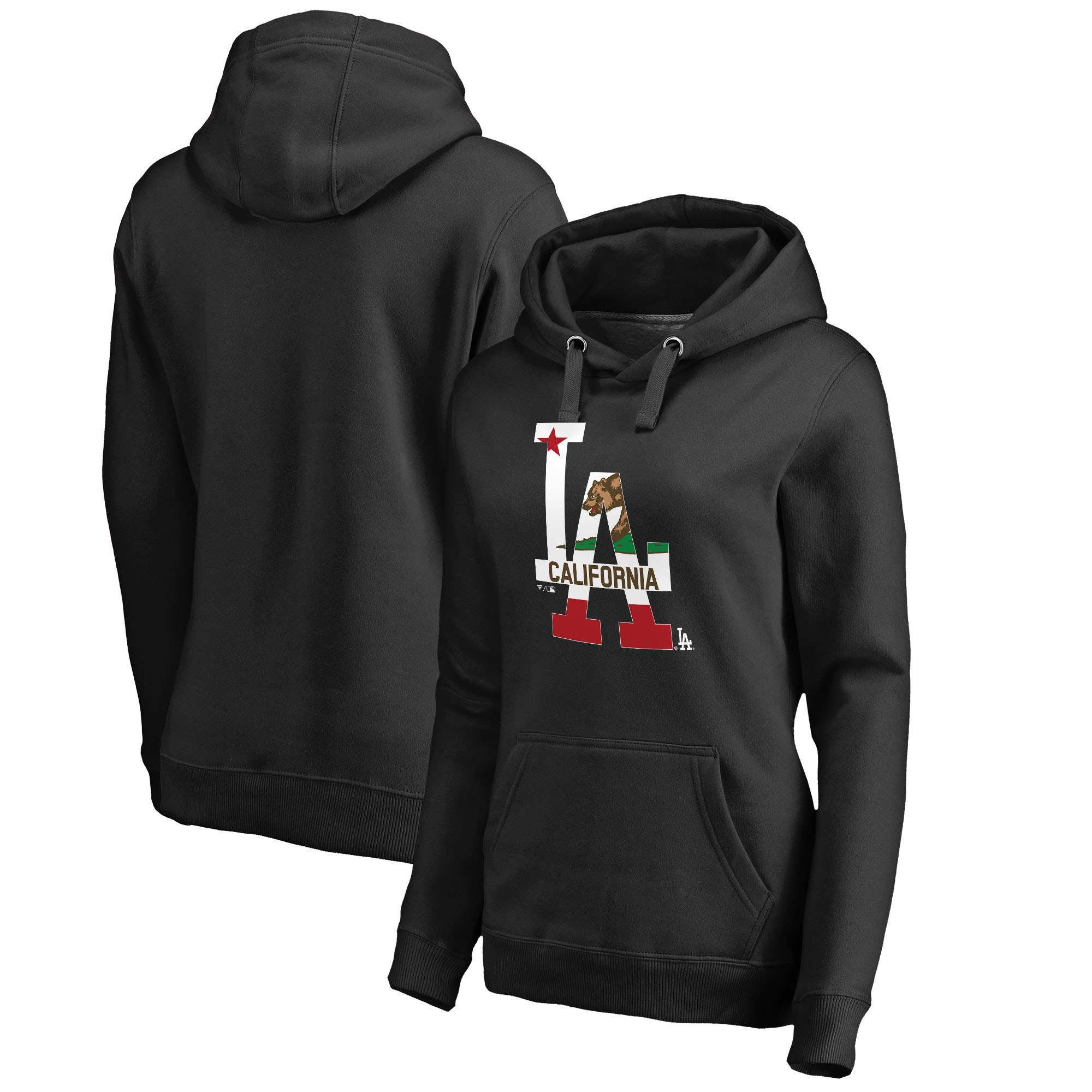 Los Angeles Dodgers Fanatics Branded Women's Hometown Collection Cali Flag Pullover Hoodie - Black