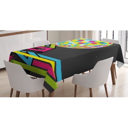70 Theme Party (Popstar Party Tablecloth, Retro Party Theme Disco Ball 80's Style Audio Cassette Tapes Colorful Stripes, Rectangular Table Cover for Dining Room Kitchen, 52 X 70 Inches, Multicolor, by)