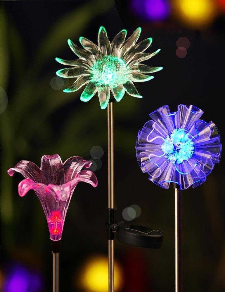 BRIGHT ZEAL Set Of 3 Solar Powered Garden Stake Light With Vivid Figurines  In Life Size