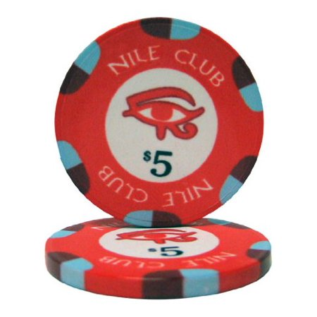 25 $5 Nile Club 10 Gram Ceramic Casino Quality Poker Chips, Casino weight and feel By Brybelly