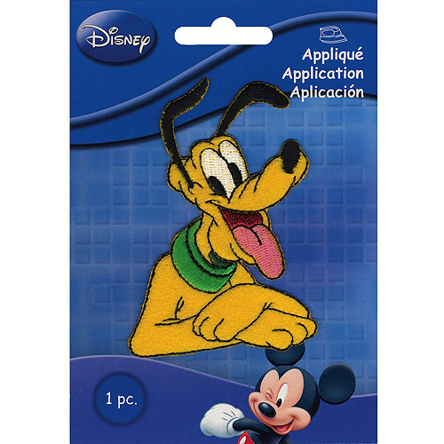Disney Iron On Applique-Pluto 3-1/4X2-1/4 1/Pkg Multi-Colored