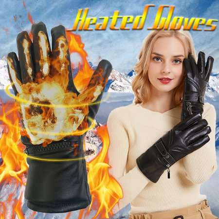 Black Male/Female Touch screen Electric Heated Gloves Winter Warm Leather Gloves Hands Thick Warm Cycling Mittens Sports Gloves +Rechargeable (Best Heated Gloves For Winter)