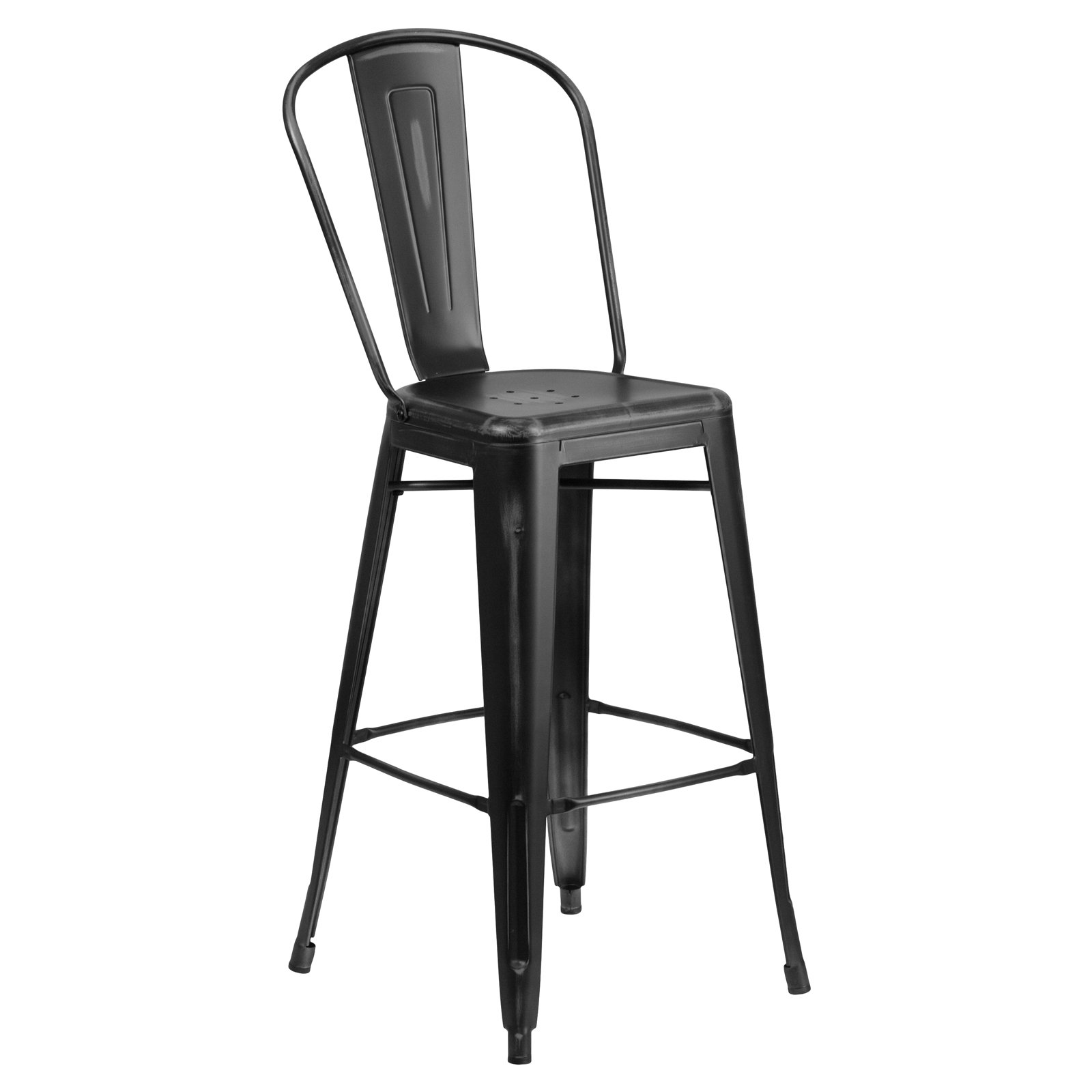 Flash furniture 30 high distressed metal indoor outdoor barstool with back multiple colors walmart com