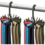 """Spinning Tie Rack and Belt Hanger (2 Pack) Ultimate Hanger Holder Hook for Storing Neck Ties, Belts, and Scarves - 4.33"""" x 5.33"""""""