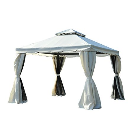 Outsunny 10\' x 10\' Steel Outdoor Garden Gazebo with Mesh Nets and ...