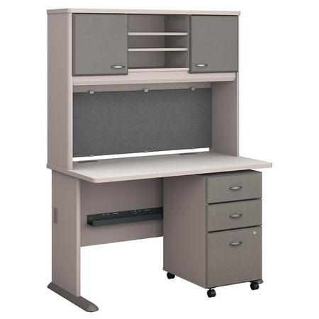 Series A Returns & Bundles 254 Lbs Weight Capacity Engineered Wood 48 W Desk, Hutch & 3 Drawer Mobile Pedestal Spectrum Three Drawer
