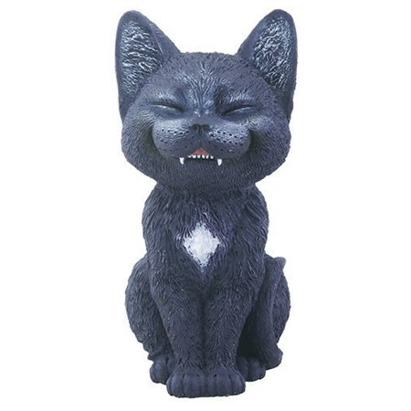 Black Laughing Kitty Cat Teehee Themed Decorative Figurine