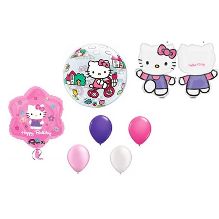 7pc Hello Kitty Balloon Set XL Mylar Latex Bubble Happy Birthday Decorating Kit for $<!---->