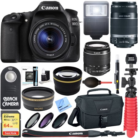 - Canon EOS 80D CMOS DSLR Camera + 18-55mm IS STM & 55-250mm IS II Lens Kit + Accessory Bundle 64GB SDXC Memory + DSLR Photo Bag + Wide Angle Lens + 2x Telephoto Lens +Flash+Remote+Tripod