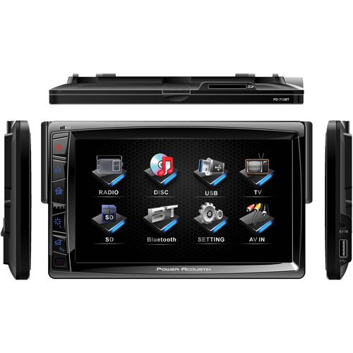"Power Acoustik PD-712 Single Din Multimedia Unit with Motorized Detachable 7"" LCD Touchscreen"