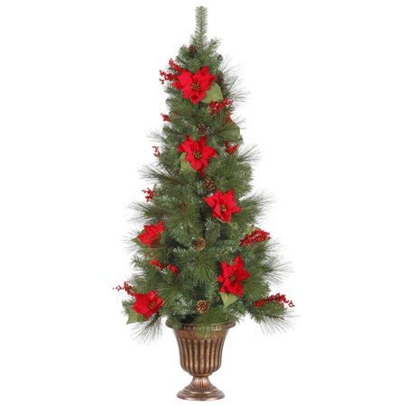 5 Pre Lit Poinsettia Berry Artificial Topiary Christmas Tree Clear Lights
