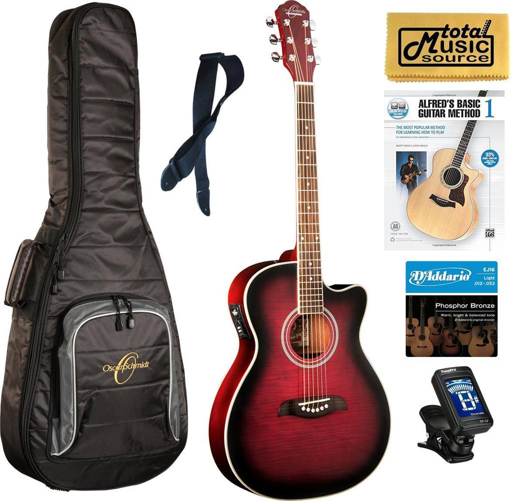 Oscar Schmidt Auditorium Florentine A/E Guitar, Trans Purple Burst Complete Bundle OACEFTPB COMP