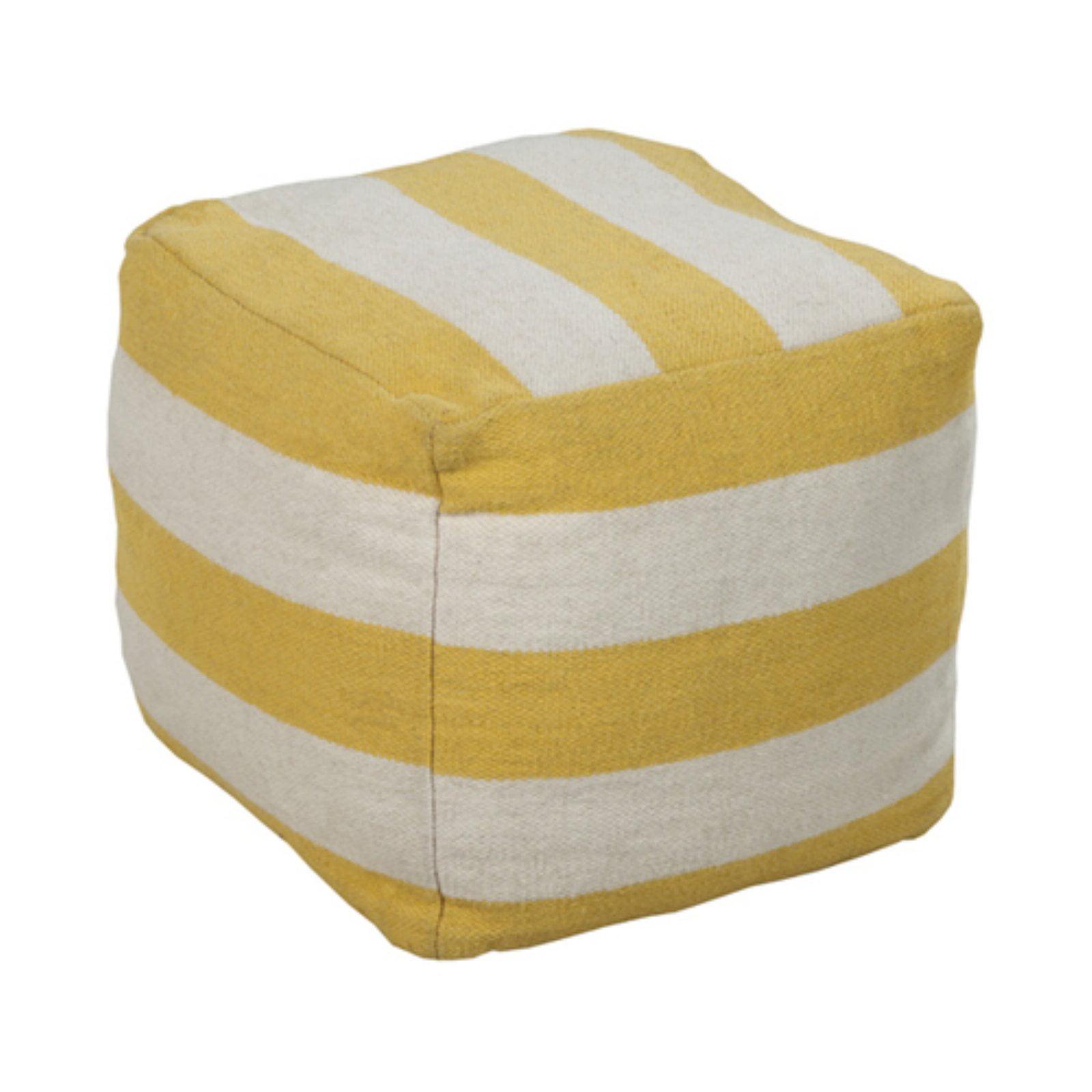 Surya 18 in. Large Stripe Cube Wool Pouf by Surya