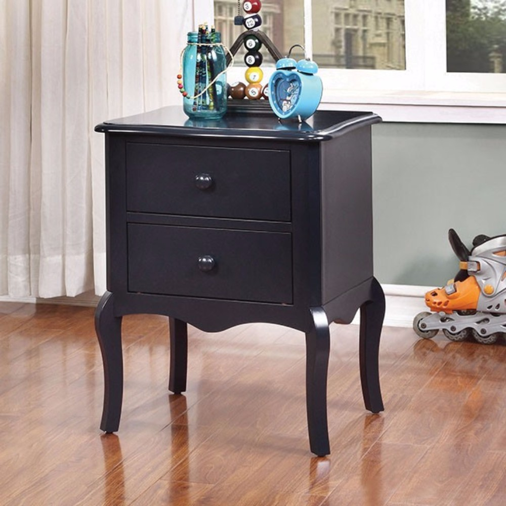 Furniture of America Lexie Rattling Spacious Night Stand, Traditional Style, Blue